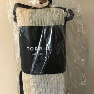 Black and cream knee high socks by torrid.